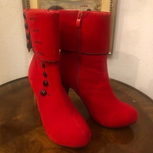 Red Holiday Retro Ankle Boots